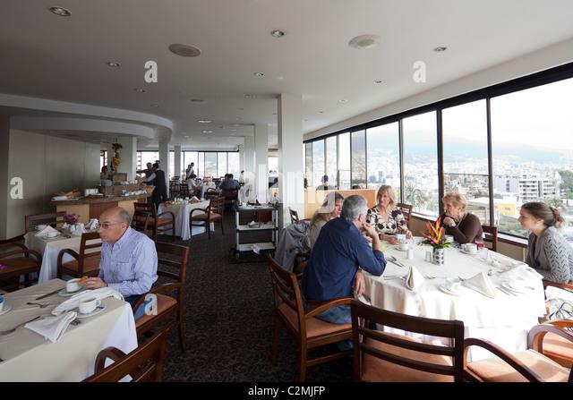 upper floor restaurant of of Hotel Quito, Quito, Ecuador - Stock Image