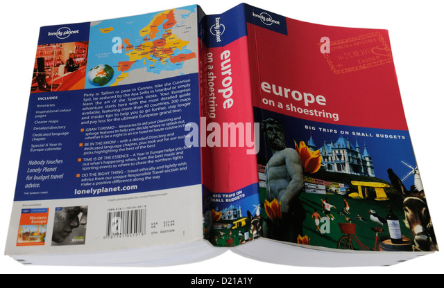 The Lonely Planet travel guide to Europe - Europe on a Shoestring - Stock-Bilder