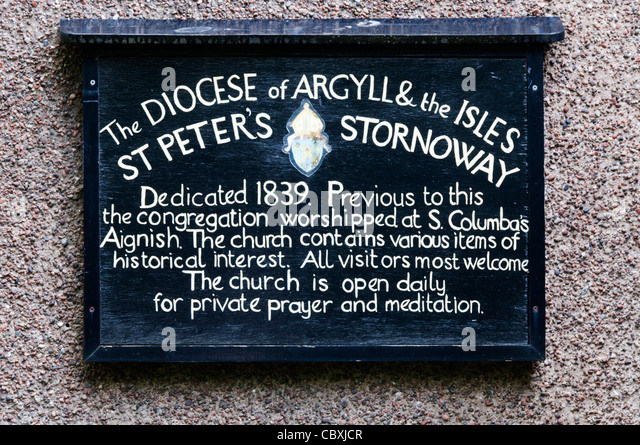 Sign on the outside of the Scottish Episcopal Church of St Peter, Stornoway on the Isle of Lewis in the Outer Hebrides, - Stock Image