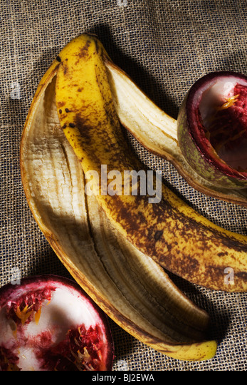 Banana and Passion Fruit skins. - Stock Image