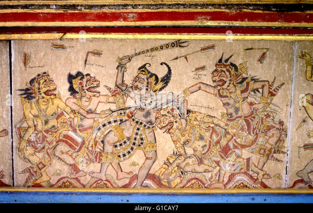 Bali indonesia classical painting stock photos bali for Mural indonesia