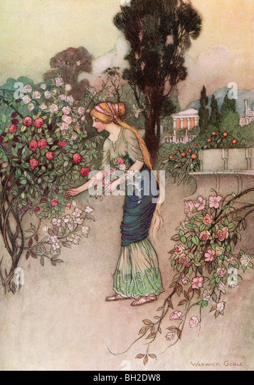 Emily in the Garden, by Warwick Goble, from The Complete Poetical Works of Geoffrey Chaucer, 1912. - Stock Image