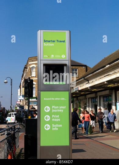 Travel Information Machine that Prints Maps Sutton Surrey England - Stock-Bilder
