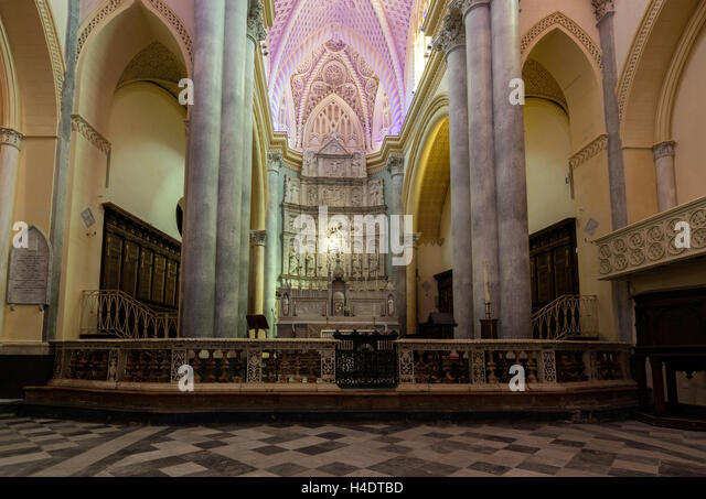 Interior of the Chiesa Matrice, a.k.a. Cathedral of Erice, dedicated to Our Lady of the Assumption - Stock Image