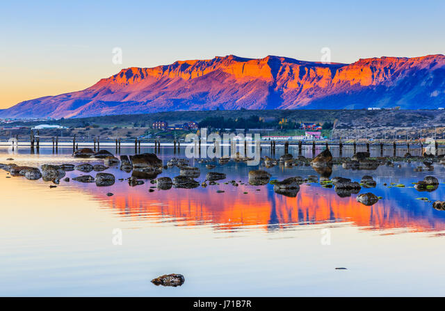 Puerto Natales in Patagonia, Chile. Old Dock in Almirante Montt golf. - Stock Image