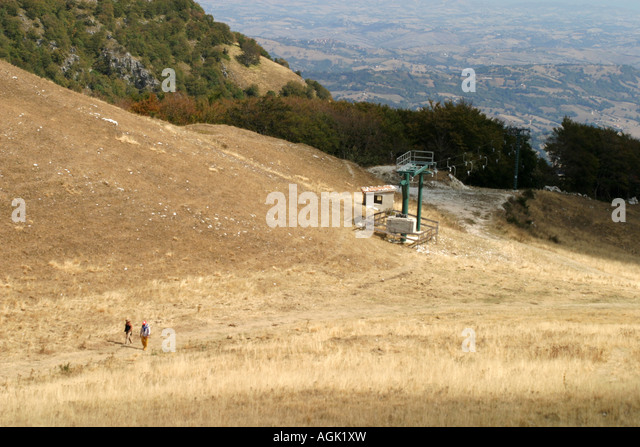 Hikers in the Sibillini National Park,Le Marche,Italy - Stock Image