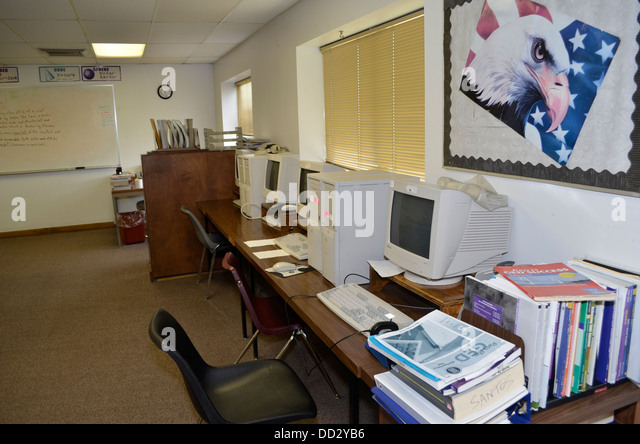 Computers for inmate use in a prison library. Lincoln, Nebraska. - Stock Image