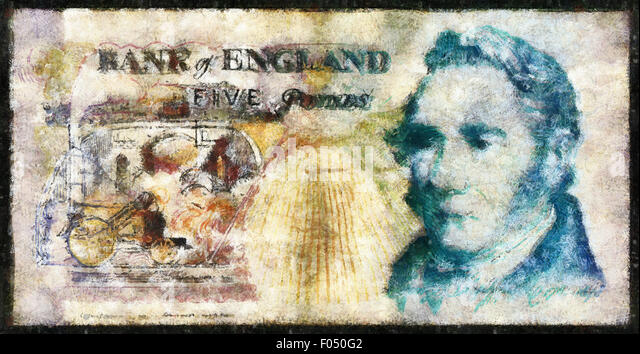 Illustrations Banknote,Currency, five pound, England,1990.George Stephenson - Stock Image