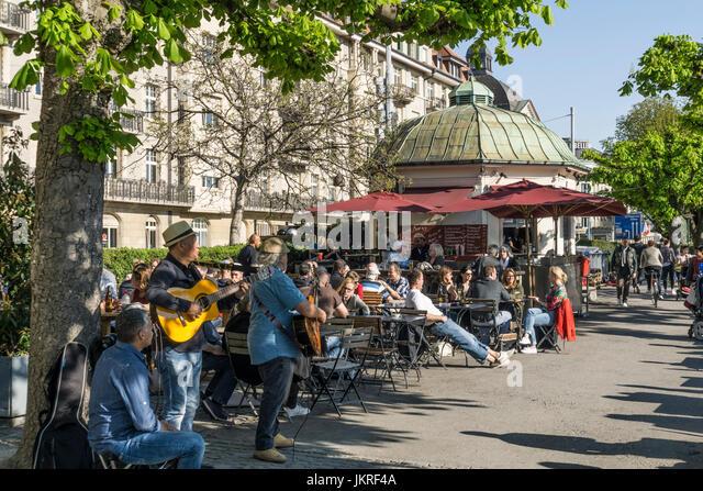 Switzerland Zuerich, lake promenade , people , Pumpy bar, street cafe - Stock Image