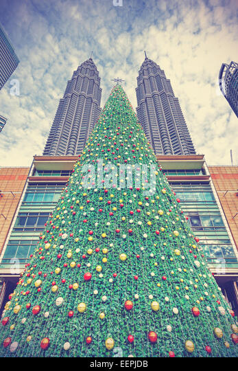 Vintage styled Christmas tree in Kuala Lumpur, Malaysia. - Stock Image