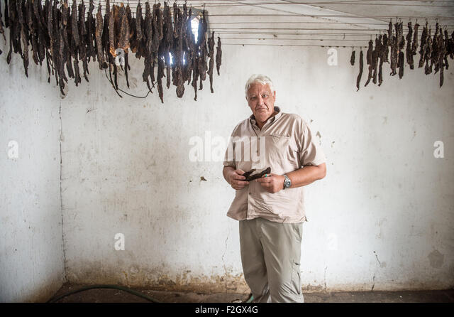 Making biltong in Ghanzi, Botswana - Stock Image