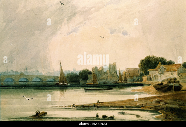 Lambeth Palace and Westminster Bridge, by F.L.T. Francia. London, England, 19th century - Stock Image