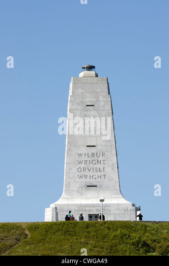 Wright Brothers National Memorial First Flight Tower Monument Kill Devil Hills North Carolina Outer Banks - Stock Image