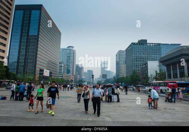 Pedestrian zone in Seoul, South Korea, Asia - Stock Image