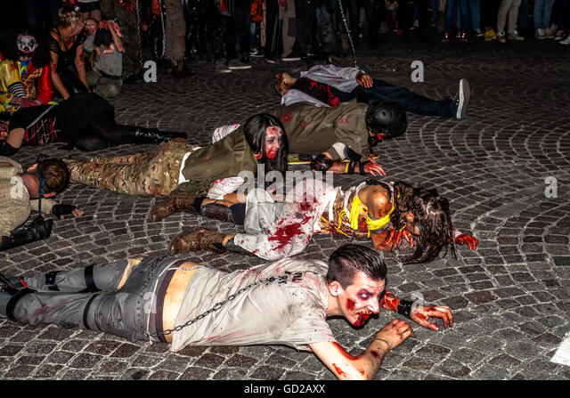 Zombies crawling for Halloween - Stock Image