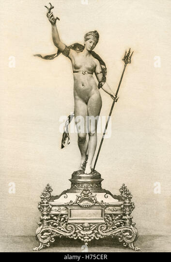 Amphitrite, model by Antonin Mercie, Illustration for l'Exposition Universelle 1889 - Stock Image