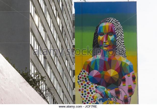 Paris, France. 15th June, 2017. A fresco mural by Spanish artist Okuda is on display in the streets of Paris, France - Stock-Bilder