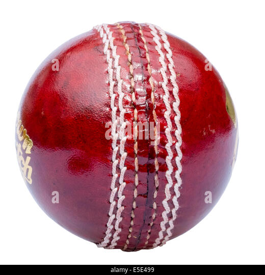 Cricket ball cut out or isolated against a white background. - Stock Image