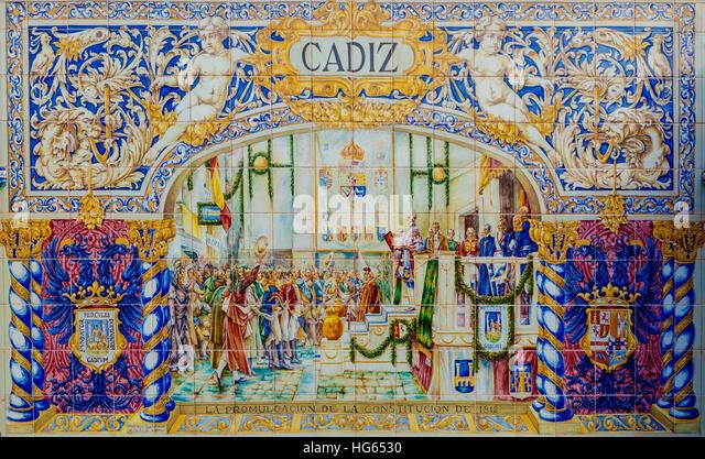 Glazed tiles wall of spanish province of Cadiz at Plaza de Espana, Seville, Spain - Stock Image