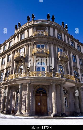 Nikolai quarter Ephraim Palais winter snow Berlin center Germany - Stock Image