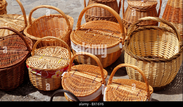 basketry traditional handcraft in spain handmade craftsmanship - Stock Image