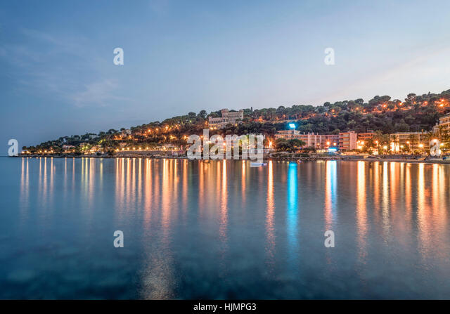 Cap Martin , twilight, Roquebrune-Cap-Martin, Cote d Azur, France - Stock Image