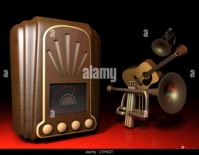 Illustration of an old 1930s Art Deco style radio with trumpets and a guitar. - Stock Image