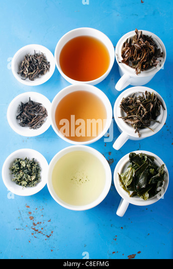 Assorted blue-green teas - Stock Image