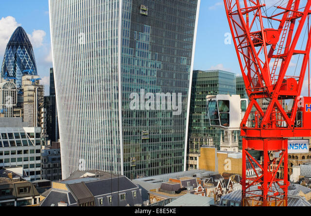 View of the City from the top of the Monument London England United Kingdom UK - Stock Image
