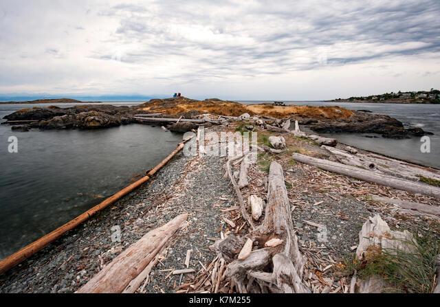 Coastal Landscape in Oak Bay, Victoria, Vancouver Island, British Columbia, Canada - Stock Image