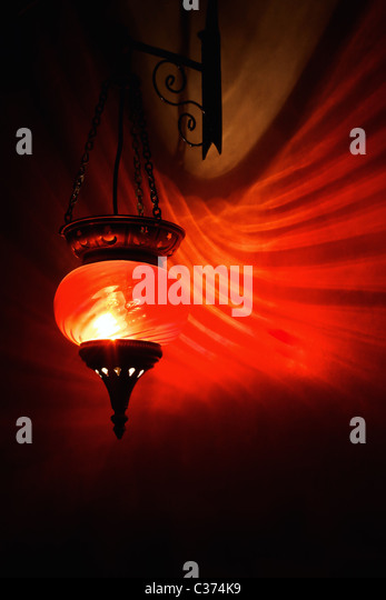 Red arabian lamp - Stock Image