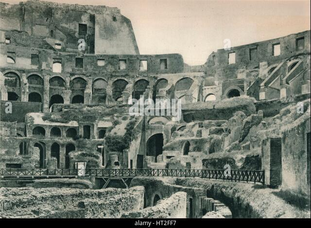 Interior of the Colosseum, Rome, Italy, 1927. Artist: Eugen Poppel. - Stock Image