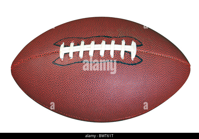 An American football isolated on white background with clipping path done using pen tool. - Stock Image