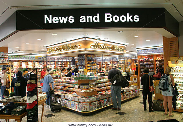 Texas Houston Airport gate area newsstand - Stock Image