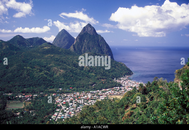 St Lucia soufriere town overlook, both pitons - Stock Image