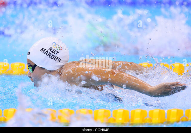 Rio de Janeiro, Brazil. 6th Aug, 2016. Yusra Mardini (ROA) Swimming : Women's 100m Butterfly Heat at Olympic - Stock-Bilder
