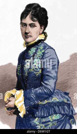 Baroness Kaula. Engraving by Capuz. The Spanish and American Illustration, 1880. Colored. - Stock Image