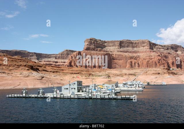 Boat trip on Lake Powell to Rainbow Bridge, coming into Dangling Rope Marina - Stock Image