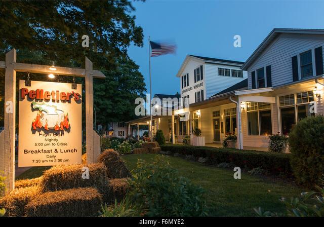 USA,Wisconsin,Door County, Fish Creek, Pelletier's fish boil sign - Stock Image