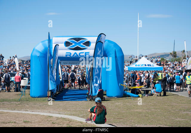 X Race (family team game) start line on foreshore, New Brighton, Christchurch, Canterbury Region, New Zealand, - Stock Image