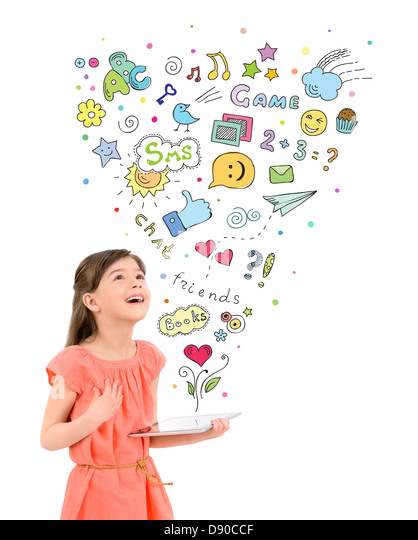 Happy cute little girl in red dress holding a digital tablet in hand and looking up at the colorful icons of entertainment - Stock-Bilder