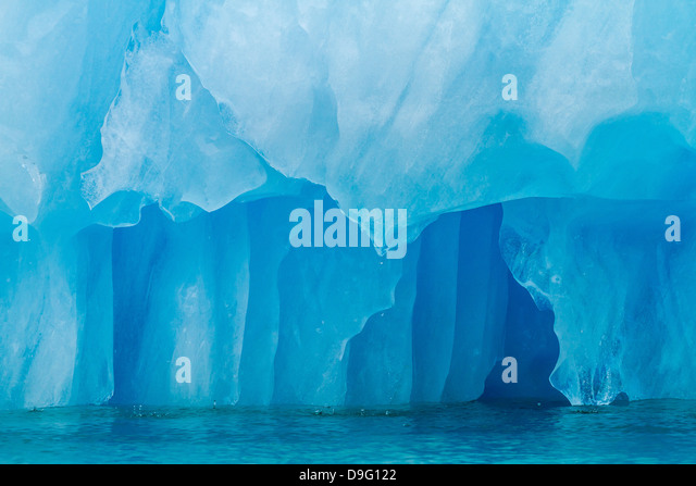 Glacial ice calved from the LeConte Glacier, Outside Petersburg, Southeast Alaska, USA - Stock Image