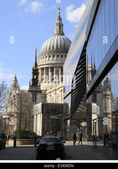 St Paul's reflected in One New Change shopping centre, City of London, England, UK, GB - Stock Image