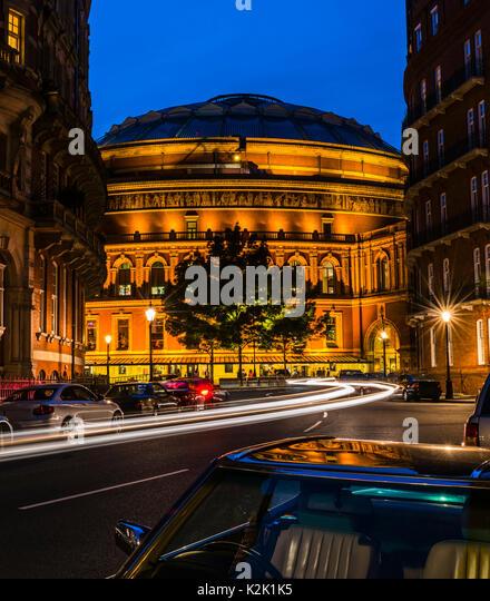 Lights around the Royal Albert Hall at dusk, London, UK - Stock Image
