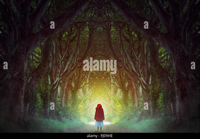Dark Hedges forest in northern Ireland manipulation . Fantasy and surreal - Stock-Bilder