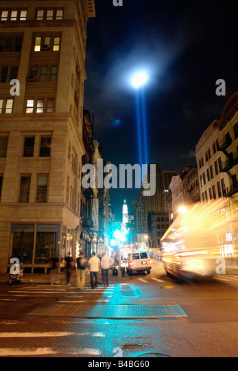 Beams of Light at Ground Zero World Trade Center Symbolizing Twin Towers in New York City USA on September 11 2008 - Stock Image