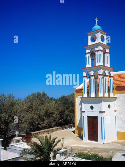 church and cemetery at Keramoti  West Crete Greece Europe,  Photo by Willy Matheisl - Stock Image