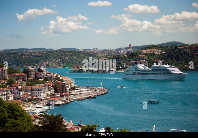 Scenic view of Arnavutkoy and Bosphorus Istanbul Turkey - Stock Image