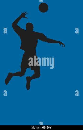 Composite image of rear view of sportsman posing while playing volleyball - Stock Image