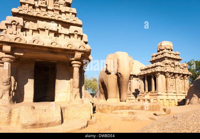 India Tamil Nadu Mamallapuram Mahabalipuram mandapas Kanchipuram Panch five Rathas 7th century Nakul Sahdeva Arjuna - Stock Image